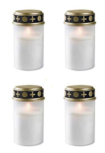 Fachhandel Plus 4er Set Grablichter weiß, LED Kerze, Grabkerze, Flackereffekt, inkl. Batterien