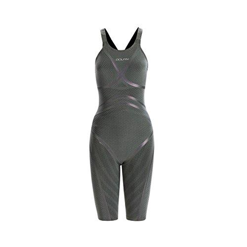 DOLFIN Women's Lightstrike Bonded Open Back Tight Leg Long Swimsuit,Silver (428),28L