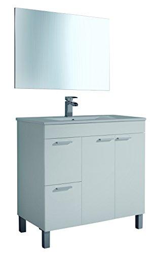 Artikmobel 305450BO - Mueble de baño Aktiva con 2 puertas y espejo, Blanco Brillo, 80x 80x 45 cm
