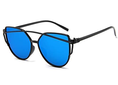 ZHAS High-End-Brillen Sonnenbrillen Damen Twin-Beams Beschichtung Spiegel Sonnenbrille Damen Retro Kunststoff Sonnenbrille Personalisierte High-End-Sonnenbrille Blau