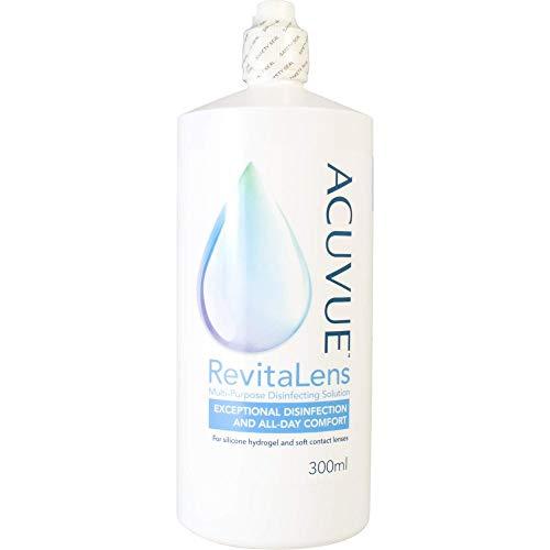Acuvue RevitaLens All-in-One-Desinfektionslösung (AiOD) – Pflegemittel & Reiniger für weiche Kontaktlinsen – Wirkt mehr als 16 Stunden – Vorteilspack – 1 x 300 ml + 1 Behälter