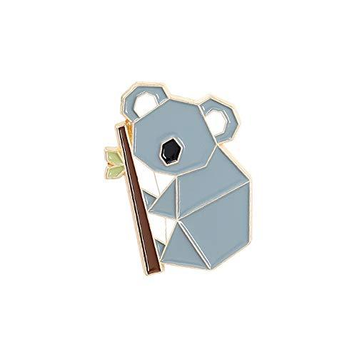 Broche con forma de animal de origami, diseño de zorro panda koala alpaca, bolsa de ropa, pin de solapa, joyería de dibujos animados, amigo-koala
