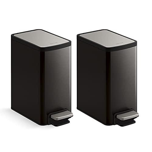 KOHLER 6 Liter / 1.6 Gallon Bathroom Step Trash Can, 2-Pack, Black Stainless Steel