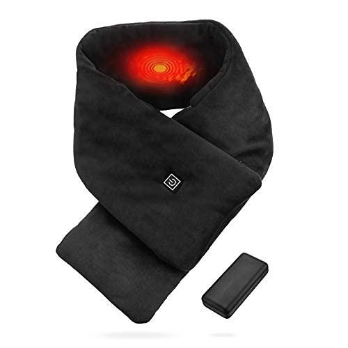 OMBAR Sciarpa Riscaldata Invernale Elettrica USB in Cotone Lavabile Nero per Uomo e Donna con 3 Livelli di Temperatura Regolabili per l inverno all Aperto al Coperto