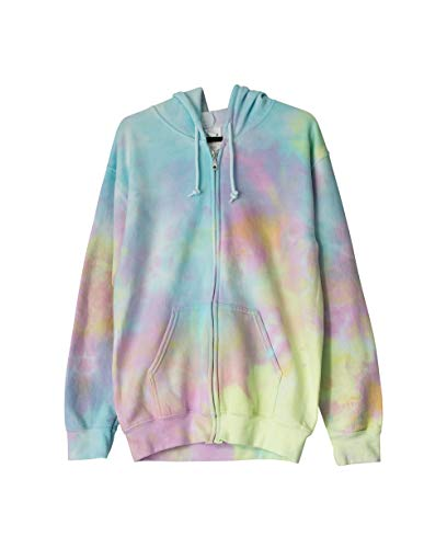 Super Pastel Goth Tie Dye Zip Hoodie Unisex Fleece