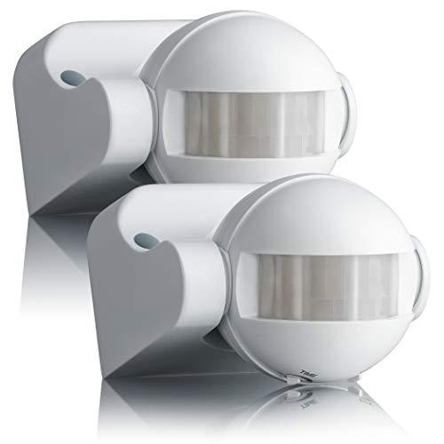 SEBSON 2x Rilevatore di Movimento Esterno IP44, Montaggio ad Superficie a Parete, LED adatto, programmabile, Infrarossi Sensore, 12m / 180°, orientabile
