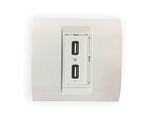Wayona 2.1A Dual USB Socket Charger. Compatible with Anchor Roma Switch Plate - White