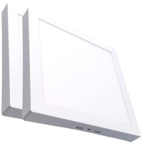 Pack 2x Panel LED cuadrado superficie, 20w. Color Blanco Frio (6500K). 1800 Lumenes. Plafon Lámpara 220x220mm.