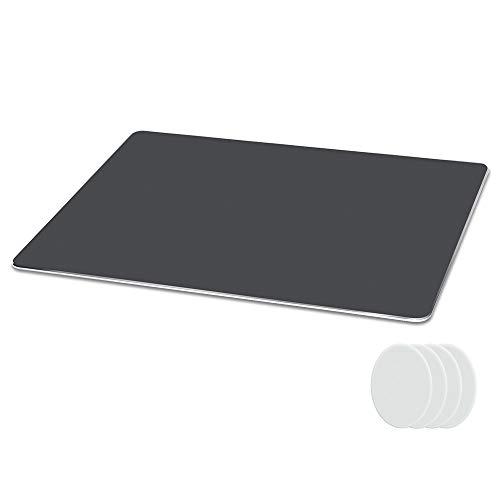 Metaku Mauspad Aluminium Gaming Mousepad rutschfest Büro Mouse Pad Klein Größ Wasserdicht Mausunterlage mit Speziellen Oberfläche Verbessert Geschwindigkeit und Präzision (Grau, 21,5x18x0,2cm)