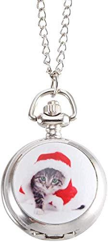 huangshuhua Reloj de Bolsillo Reloj de Bolsillo Vintage Reloj de Cuarzo Relojes de Cadena Fresca con Lindo patrón de Gatito
