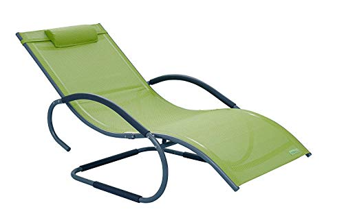 Meerweh Luxus XXL Chaise Longue en Aluminium Vert