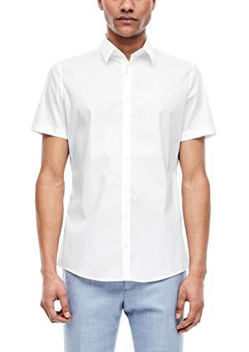 s.Oliver BLACK LABEL Herren Kurzarm Hemd, White, 39