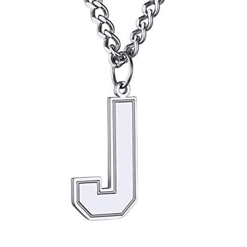 GOLDCHIC JEWELRY High Polished SablonUp Font Letter J Necklace Initial Pendant with 24' Chain Fits for Boy Men