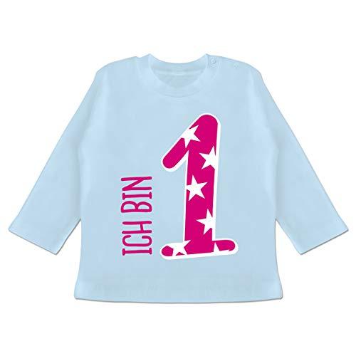 Shirtracer Geburtstag Baby - Ich Bin 1 Rosa Mädchen Erster - 18/24 Monate - Babyblau - Langarm erster Geburtstag - BZ11 - Baby T-Shirt Langarm