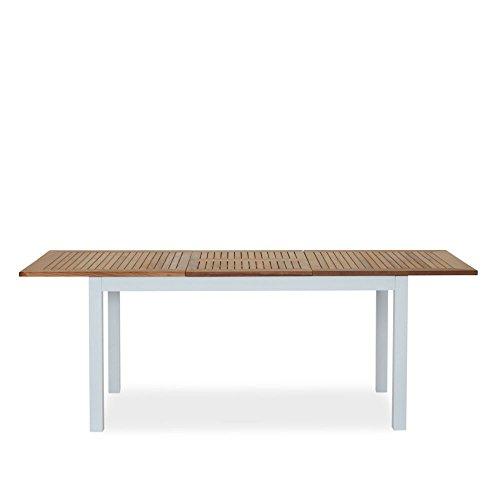 Comedor Extensible Madera Metal mesa teca marrón estructura aluminio blanco 210x 90cm Mesa de jardín–San Roma