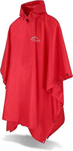 normani Outdoor Sports Regenponcho mit Kapuze - Wassersäule: 6000 mm - Regenjacke für Damen und Herren Farbe Mittelrot