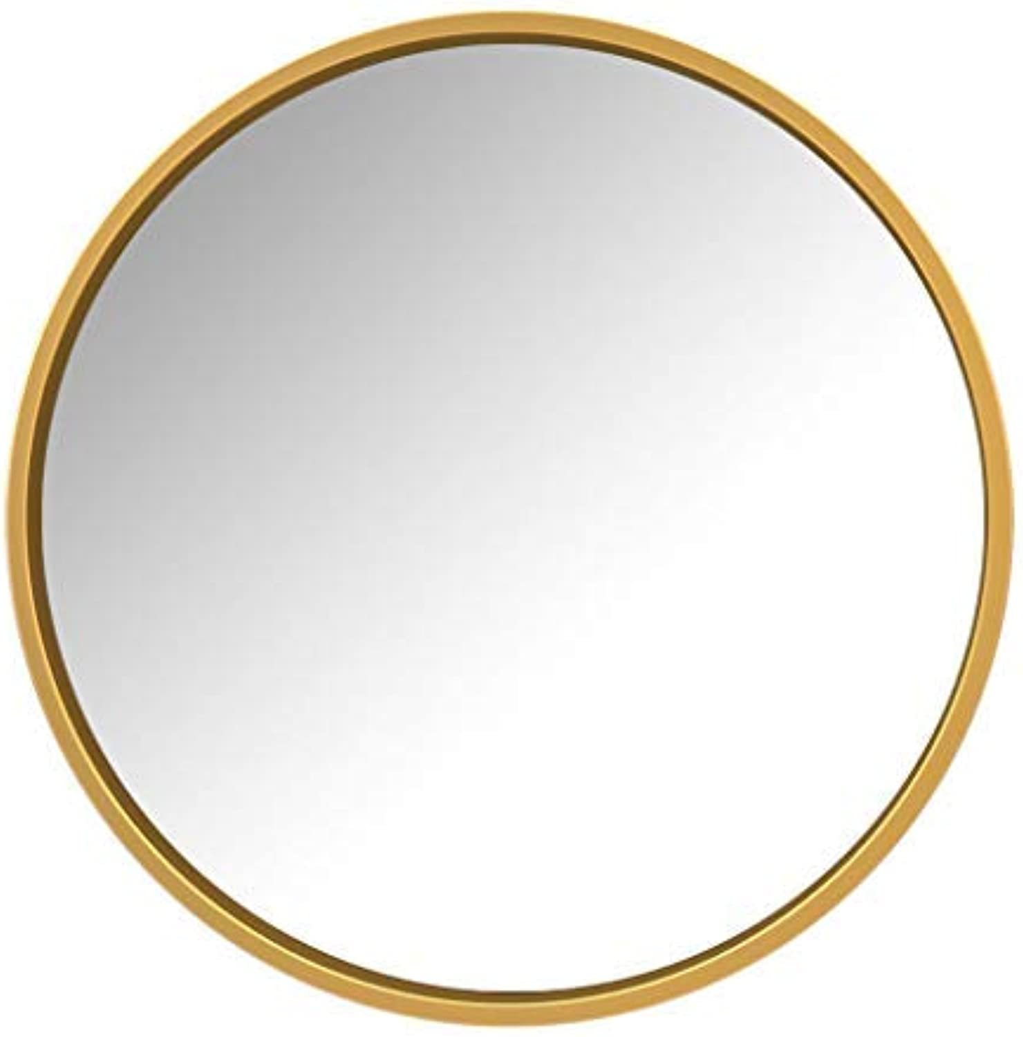 ZHAS Round Wall-Mounted Bathroom Mirror   Makeup Shaving Mirror   gold Metal Frame Wall Mirror   40-70cm Available