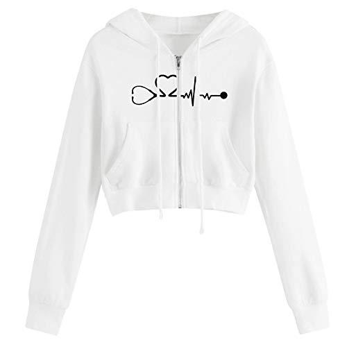 Trui voor dames, buikvrij, korte hoodie, lange mouwen, capuchontrui, hoodie voor dames, ritssluiting, sweatshirt, korte capuchon, sport, crop tops, capuchontrui, bovenstuk, shirts, capuchon, sweatjack, vrouwen, hoodies, wit, L