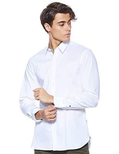 Guess LS Collins Shirt Camisa Casual, Blanco (True White A000 Twht), X-Large para Hombre