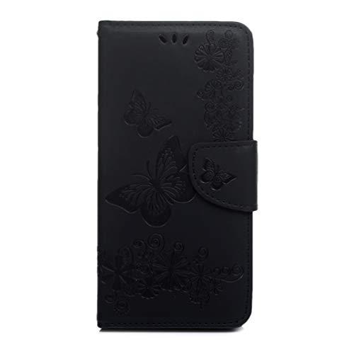 Huawei Y7 2019 hoesje, premium PU lederen schok-absorptie notitieboekje portemonnee hoesje reliëf grote vlinder met Kickstand functie kaartsleuf en magnetische sluiting slanke Flip beschermende huidhoes Zwart