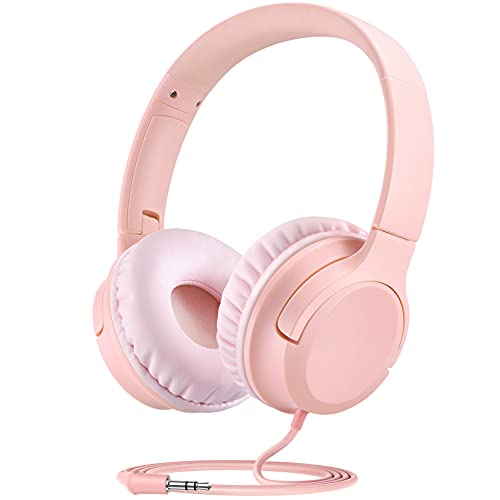 Kids Headphones, Wired Headset for Children Toddler Teens Girls with 94dB Volume Limit, Foldable Adjustable for School, Travel, Online Learning, 3.5mm Audio Jack for Phone, Tablet, PC, Chromebook