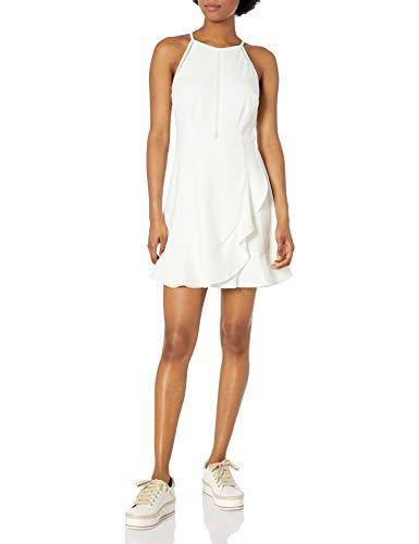 Speechless Junior's Ruffled Fit and Flare Dress, White, Medium