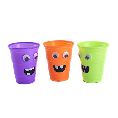 Hemoton 3 stücke Halloween Wiederverwendbare plastikbecher Cartoon plastikbecher trinkbecher Partei liefert mischfarbe (800 ml)