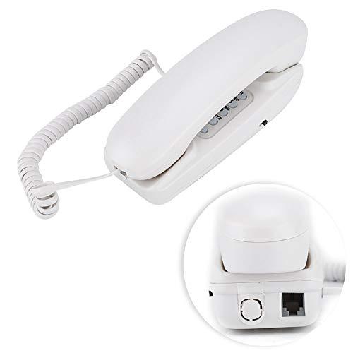 ASHATA Wandtelefon Schnurgebundes Telefon, Schnurtelefon Wand Schreibtisch Kompakttelefon,Festnetztelefon Analog Telefon mit Anrufstummschaltung/Flash-Funktion für Hause Büro Hotel (Weiß)