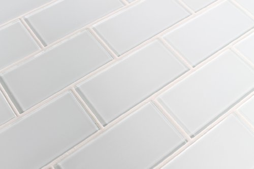 Sample Color Swatch of Snow White 3x6 Glass Subway Tile for Kitchen Backsplash/Tub Surround from Rocky Point Tile
