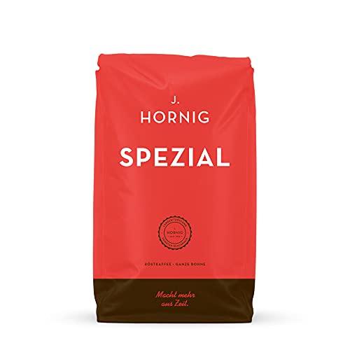 J. Hornig Kaffeebohnen Spezial, 500g, mildes und schokoladiges Aroma, für Vollautomaten, Filterkaffeemaschine und Espressokocher, ganze Bohnen