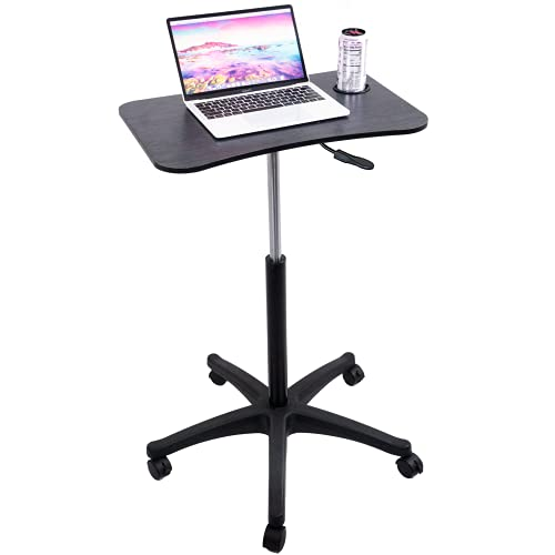 Pneumatic Mobile Laptop Desk - Airlift Standing Desk Portable Laptop Desk - Laptop Table Home Office Desks Rolling Podium Medical Table - Rolling Hospital Tray Table and Portable Workstation