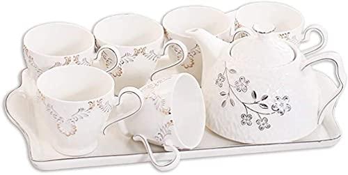 FGDSA Printing Ceramic Tea Set,Vintage Tea Set With Teapot,Pretty Tea set Service for 6,European Tea Set Afternoon Tea Set English,Household Ceramic Water Cup Dinnerware Sets