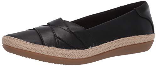 Clarks Women's Danelly Shine Loafer, Black Leather, 7.5 M US