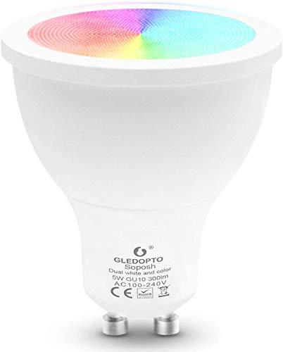 Zigbee Bulb-GU10 5W Ampoule CCT RGB Ampoule LED intelligente fonctionne avec Amazon Echo Plus, angle de haricot 120 °