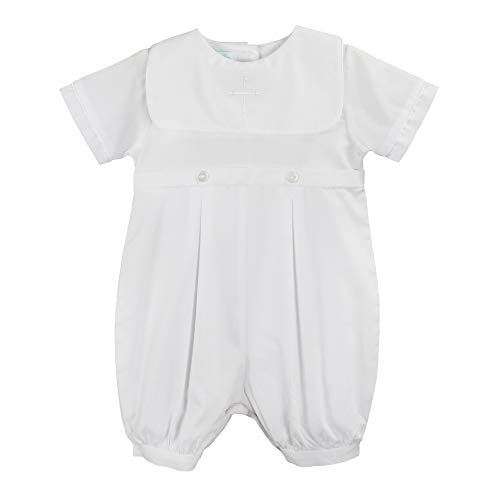 Petit Ami Baby Boys' Hand-Embroidered Cross Christening Romper, 3 Months, White
