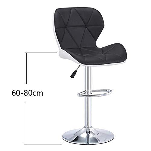 ZCXBHD Liftable Leisure Barkruk, 360 graden draaibare hoge stoel, draaibare barkruk van PU-leer met rugleuning, zwart