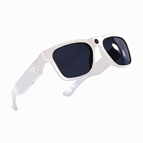 Govision Royale Camera Glasses Full HD 1080p Video and Audio Recording Sunglasses 8MP with Polarized UV400 Lens 16GB Storage Wide Angle View Unisex Wearable Design for Riding Fishing Sports White