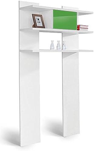 Jugendzimmer - Regal Gabriel 13, Farbe  Weiß Grün - 190 x 100 x 32 cm (H x B x T)