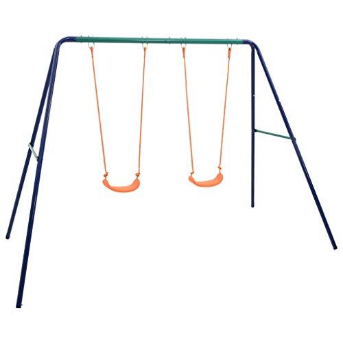 vidaXL Juego de Columpios con 2 Asientos de Individuales Infantiles de Jardín Patio al Aire Libre de Exterior Fácil Instalación para Niños