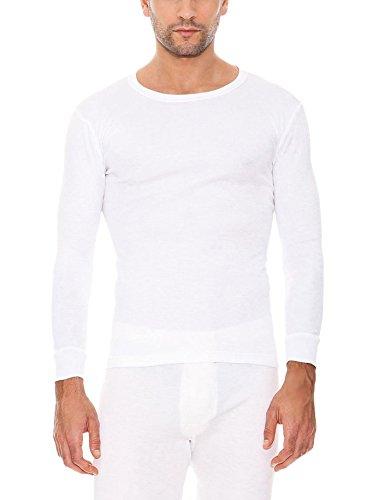 Abanderado - Camiseta térmica de manga larga y cuello redondo para hombre, color Blanco, talla 52 (L), Talla Internacional: M