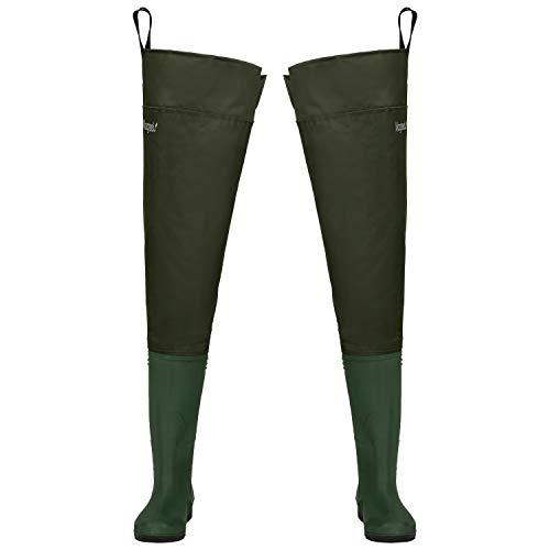Magreel Pantalones de Pesca Impermeable Profesionales Waders Cuissardes para Hombres y Mujeres Wader Impermeable de PVC/Nylon con Correa Ajustable (Euro Size 40)