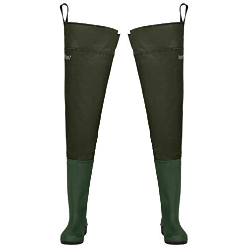 Magreel Hip Waders, Lightweight Waterproof Hip Boots for Men and Women, PVC/Nylon Fishing Hunting Bootfoot with Cleated Outsole, Size 7-Size 13, Army Green