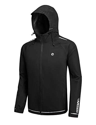 Baleaf Men's Lightweight Windbreaker Hooded Running Track Sport Jackets Waterproof Windproof Black Size M