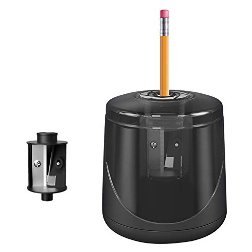 Sacapuntas eléctrico, sacapuntas automáticos de un solo agujero, funciona con pilas con un núcleo de cuchillos, sacapuntas mecánicos ideales para lápices de colores n.º 2 (0,6-0,8 cm)