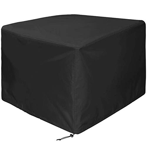 WOMACO Heavy Duty Square Patio Fire Pit/Table Cover, Waterproof Outdoor Furniture Cover (48' x 48' x 29', Black)