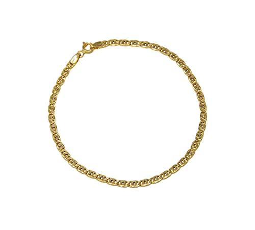 Pulsera de oro amarillo de 18 quilates 750 con eslabones de tigre para hombre, unisex, longitud 19,5 cm