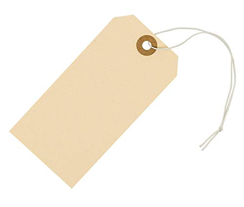 Tags with Elastic String Attached 4 3/4' x 2 3/8' (12 x 6 cm) Box of 100 Large Manila Paper Tags with Reinforced Hole and String