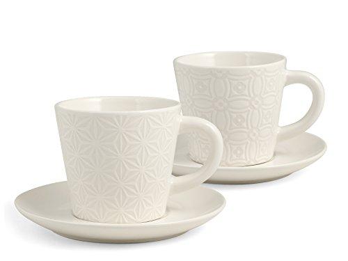 H&H Silhouette Set 2 Tazze Colazione con piatto, Stoneware, Bianco, 320 ml