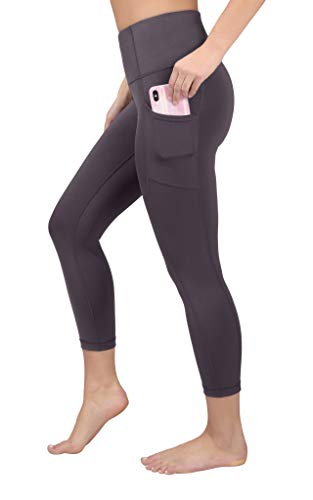 90 Degree By Reflex Yoga Capris - Yoga Capris for Women - Hidden Pocket - Dark Berry - Medium