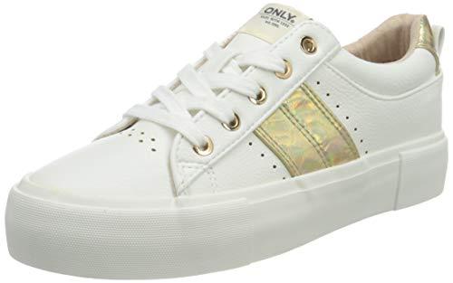 ONLY ONLLIV-1 PU Sneaker, Zapatillas Mujer, Blanco, 39 EU